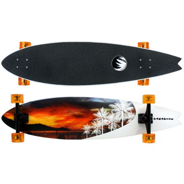 Paradise White Sunset Fishtail Komplett Longboard
