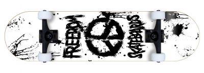 Freedom komplett Skateboard Peace Paint White