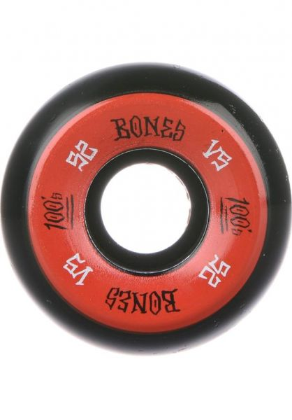 Bones Wheels Skateboard Rollen 100's OG #1 V5 100A schwarz/rot 52mm