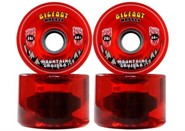 Bigfoot Mountain Cruiser Longboard Wheels Clear Red 76mm 80a