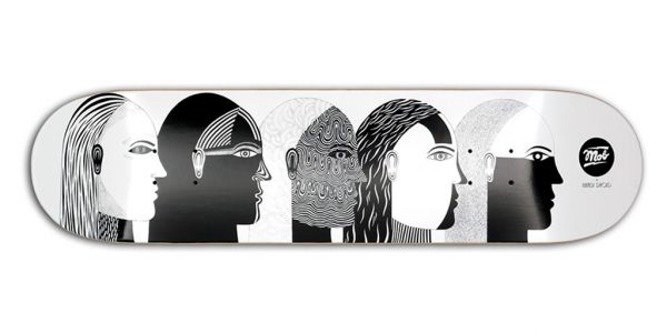 MOB Skateboards Heads Deck - 8 white x black