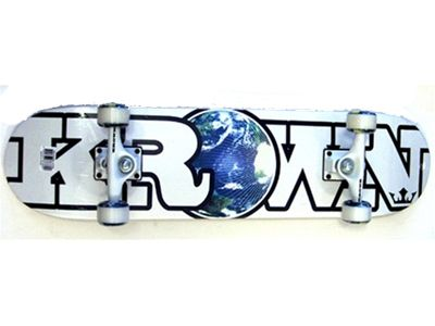 "Krown Rookie World White Complete Skateboard 7.5"""