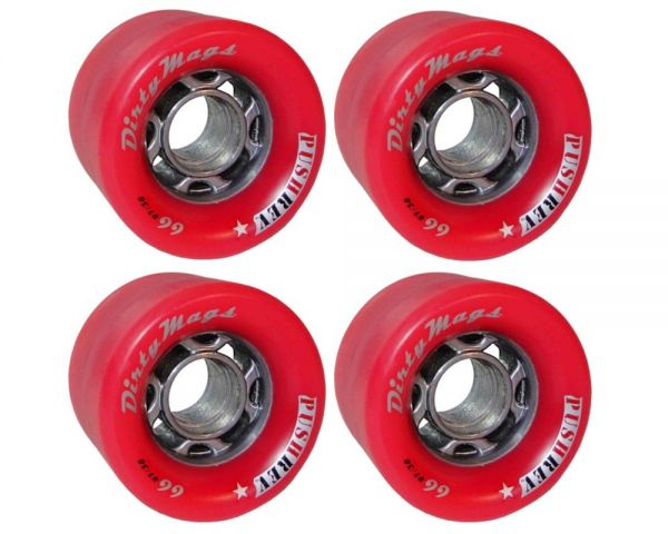 PUSHREV Dirty Mags Longboard Wheels 66mm 82A Red