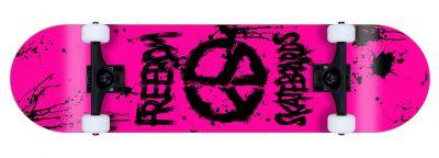 Freedom komplett Skateboard Peace Paint Neon-Pink