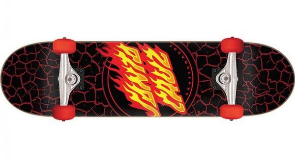 Santa Cruz komplett Skateboard Flame Dot full black-red 8.0