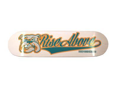 Rise Above Bulldog Logo Green Skateboard Deck 8.0
