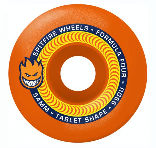 Spitfire Skateboard Wheels F4 Tablets Neon Orange 99a 54mm