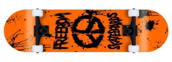 Freedom komplett Skateboard Peace Paint Neon-Orange