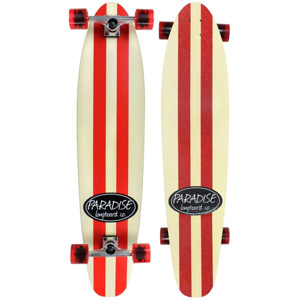 Paradise Complete Longboard Kicktail Red/White Stripes 44 x 9.75