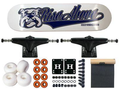 Rise Above Bulldog Logo Blue Complete Skateboard 7.7