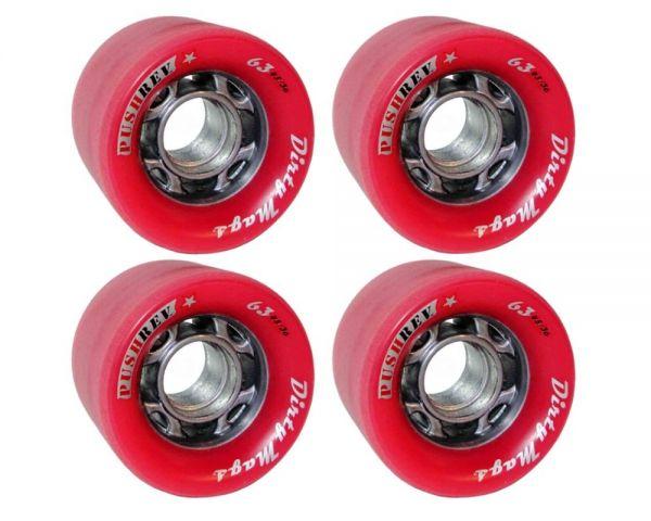 PUSHREV Dirty Mags Longboard Wheels 63mm 82A Red