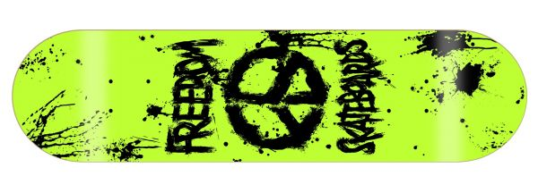 Freedom Peace Paint NEON-Yellow Skateboard Deck