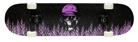 Krown Complete Skateboard Pro Purple Skull Flame 7.75