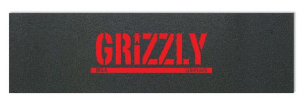 Grizzly Skateboard Griptape schwarz mit roten Print