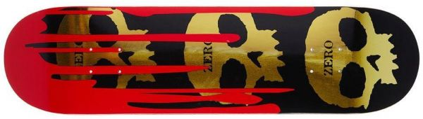 Zero Team 3-Skull Blood Black Gold R7 Skateboard Deck 8.25