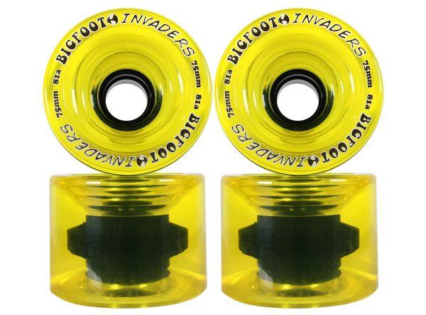 Bigfoot Invaders Longboard Wheels Clear Yellow 75mm 81a
