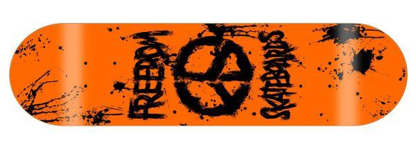 Freedom Peace Paint NEON-Orange Skateboard Deck