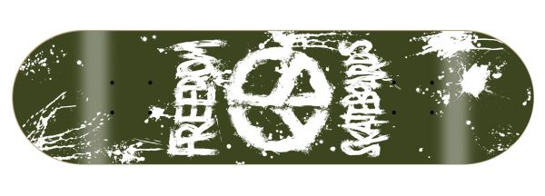 Freedom Peace Paint Olive-Army Skateboard Deck
